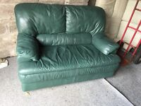 GREEN LEATHER 2 SEATER SOFA,CAN DELIVER