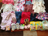 MIXED BUNDLE OF BABY GIRLS CLOTHES, Slippers Sleeping Bags etc Some BNWT 0-12MONTHS will post