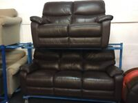 NEW / EX DISPLAY Brown Leather ScS 3 Seater + 2 Seater Sofas