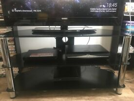 TV stand- black tempered glass