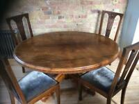Walnut Oval Dining Table and 4 Chairs