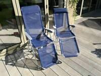 Recliner garden/camping chairs x 2