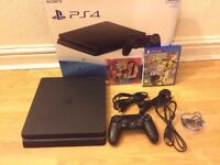 Sony Playstation 4 Slim 500GB with one controller, 2 games and headset