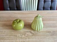 Green apple and pear ornaments