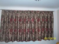 2x Taupe Curtains with Red Flowers