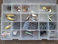 Fishing lures and lead weights with storage box