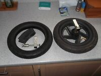 Boss Seat box wheel x 1, 2 tyres, 2 innertubes , bracket assemblies