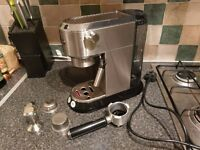 DELONGHI DEDICA EC680M Espresso Coffee Machine - Silver WITH EXTRA SINGLE WALL BASKET AND TAMPER