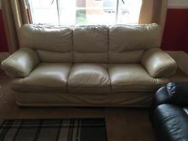 Cream leather sofa three seater settee 3