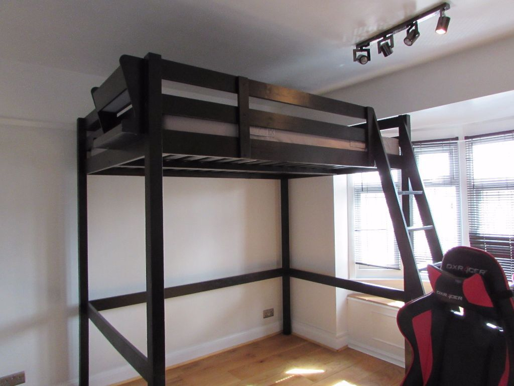 ikea stora loft bed and mattress double high sleeper in. Black Bedroom Furniture Sets. Home Design Ideas