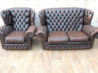 Chesterfield 2 Seater Monk Sofa + 1 High Back Armchair (Delivery)
