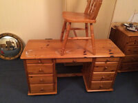 solid pine dressing table/ desk and matching chair
