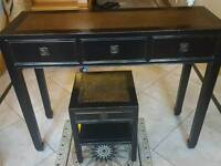 Distressed black and gold console table and matching telephone table