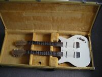 DANELECTRO DC 6 AND 12 STRING TWIN NECK WITH RARE TWEED CASE--MANCHESTER