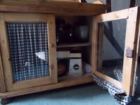 Antique Pine Glass Fronted Cupboard