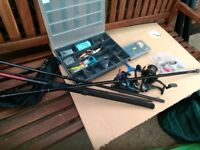 Lots of fishing gear rods reels boxes of floats etc bag/seat lots more