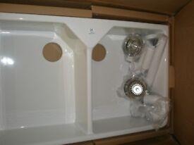 Belfast Double Sink with waste kit still in box unused