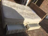 King size divan bed with 4 draws/suede headboard and mattress