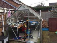 Glass greenhouse, 6 x 8x used , aluminium frame