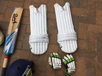 Cricket Bat and helmet and pads