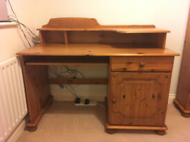 Solid Pine Computer Desk with cupboard, drawer and keyboard shelf - good condition