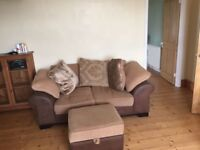 2x 2 seater sofas and pouffe