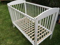 Baby cot, needs new layer of paint , strong solid wood structure, no mattress