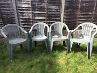 4 stackable plastic garden chairs