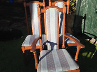 Ercol dining chairs,6 in total, including 2 carvers, with blue upholstery in excellent condition