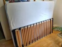 King size mattress, clean, used plus 2 x beechwood sprung slats for king size bed base, used.