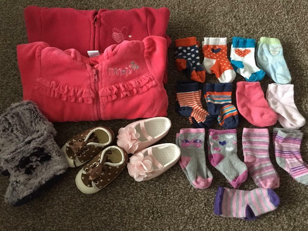 Baby girl 3 6 months clothes bundlein Sandwell, West MidlandsGumtree - HelloOver here to sell bundle of clothes and shoes and socks for a little lady 3 6 months.Include Disney Minnie Mouse fleeceMothercare fleeceShoes size 1, which is 3 6 months Mothercare x 2, 1 unbranded13x pairs of socks