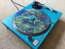 "Technics SL-1210 MK2 Turntable With Custom Turquoise ""Technics"" Cover & 45"