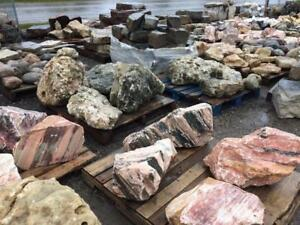 Landscape stones: limestone slabs, multicolored marble boulders, weathered limestone, field stones and other yard stones