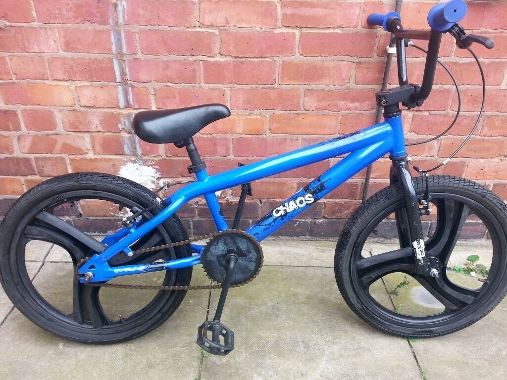 bmx bike chaos with 3 spoke mag wheelsin Leicester, LeicestershireGumtree - bmx bike chaos 20 inch mag wheels with good tyres no punctures good working brakes used but in good condition and rides well tx please as cant always answer calls