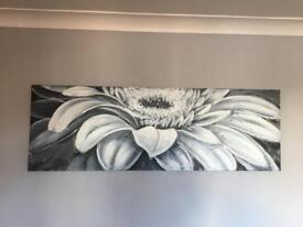 Silver and grey flower wall canvas