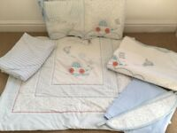 Powder blue and white bedding