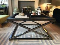 Designer X Frame Large Coffee Table with Removable Trays