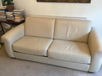 Cream Leather 3 Seater Sofabed from Furniture Village made in Italy