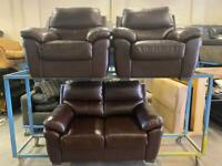 HARVEYS BROWN LEATHER SOFA SET 2-1-1 seater
