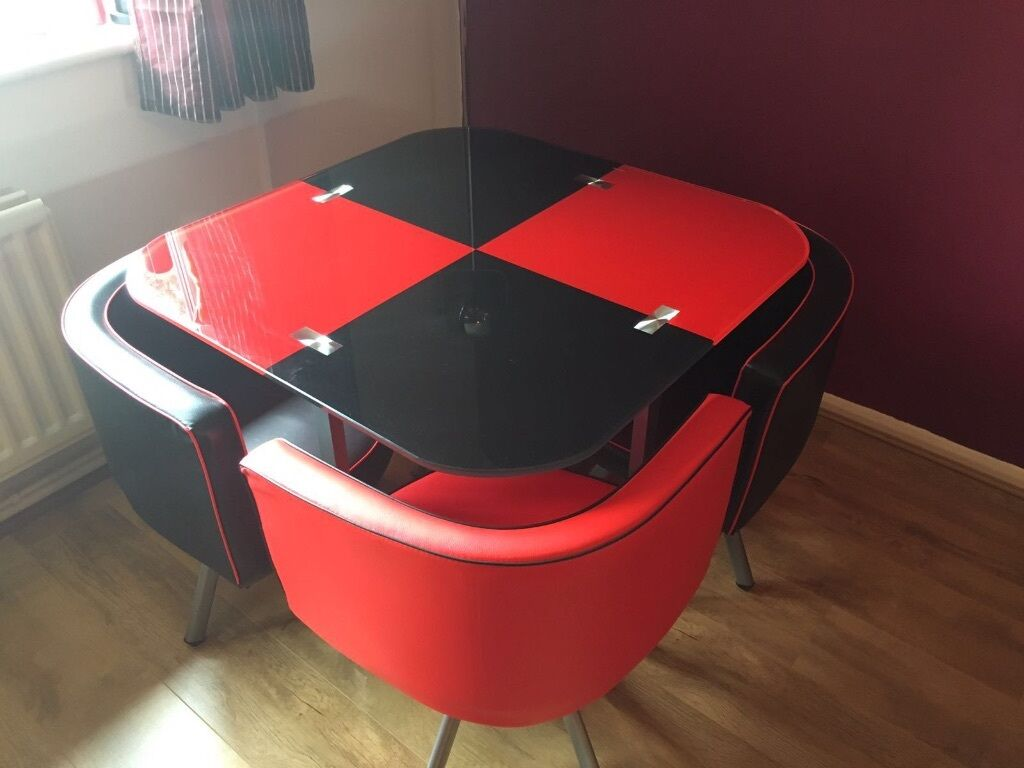 Funky retro glass dining table red and black with 4 faux  : 86 from www.gumtree.com size 1024 x 768 jpeg 65kB