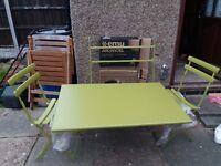 NEW EMU Arc En Ciel Folding Garden/Patio/Balcony Table & 2 Chairs - Green