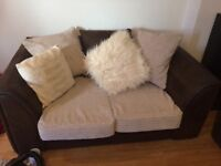 2 x beige and dark brown cord sofas