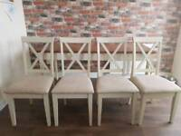 Cream dining table and 4 chairs