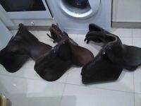 3 x leather horse saddles and accessories made by Batchelor , Butler Bros