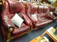 Red Leather 3, 2 & 1 Sofa