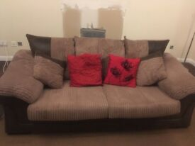 Brown 3 seater sofa in soft material