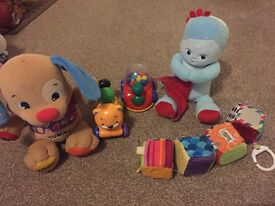 A variety of baby/kids toys.