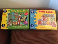 Orchard toys puzzles - (doll house and number)