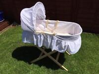 Moses basket, mattress and pine stand