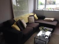Large 3 seater black corner sofa